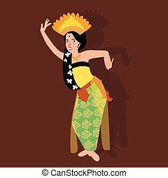 balinese, donna, bali, ballo, kecak, indonesia, tradizionale, cultura, ballerino, costume, ragazza, asiatico