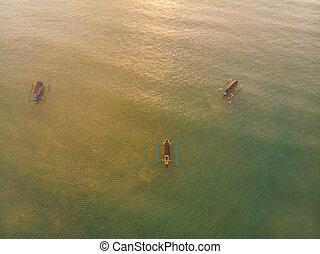 balinese, foto, indonesia, jukung, bali, tradizionale, jimbaran, fuco, spiaggia tramonto, barca