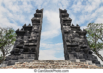 Balinese Hindu gates in Budhist temple