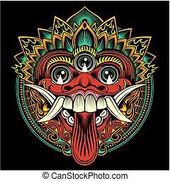balinese, illustrazione, vettore, rituale, tradizionale, -, mask., contorno