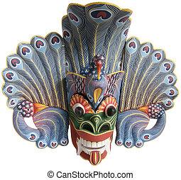 (balinese), indonesio, mask-souvenir, árbol, aislado, ...