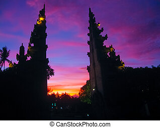 Balinese monument at sunset - Balinese monument or tample at...
