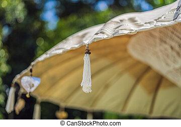 balinese, ombrello, sole, giallo, tradizionale, nappe
