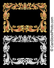 Balinese Ornament Frame 2d - Blank frame with flora...