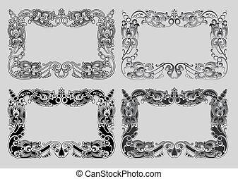 balinese, ornamento, cornice, 3a