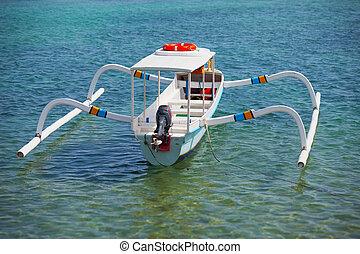 balinese, outrigger, doppio, -, tradizionale, motore, jukung, barca