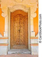 balinese, porta, arte dell'intaglio