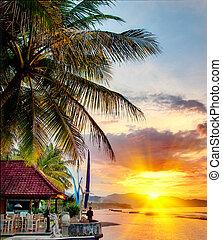 balinese, sopra, tramonto, linea costiera