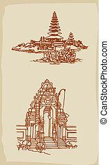balinese, tempio, illustrazione