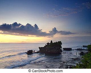 Balinese temple on sunset