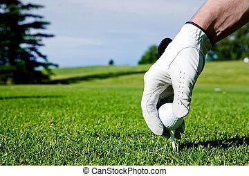 baliza golfe, mão