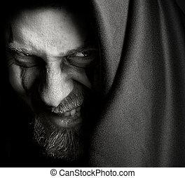 baljós, ártó, rossz, ember, vigyorog, bűnös