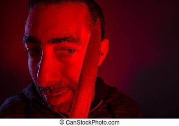 baljós, látszó, closeup, birtok, ember, kés, ő
