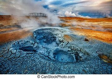 baljóslatú, kilátás, geothermal, terület, hverir,...