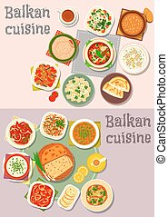 Balkan cuisine dinner dishes with pies icon set - Balkan...