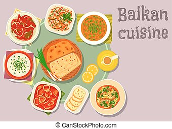 Balkan cuisine dishes for dinner menu design - Balkan...