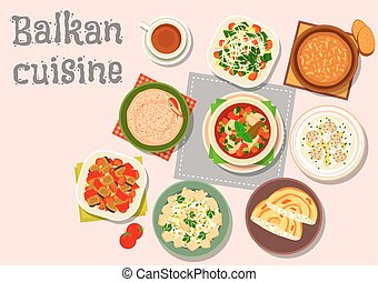 Balkan cuisine savory dishes icon for menu design