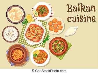 Balkan cuisine traditional meat dishes icon - Balkan cuisine...