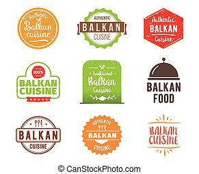 Balkan cuisine vector label - Balkan cuisine, authentic...