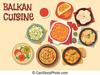 Balkan cuisine vegetarian dinner icon - Balkan cuisine...