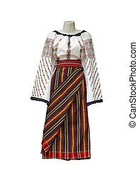 Balkan embroidered national traditional costume clothes isolated over white background