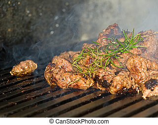 Dumplings of minced meat on the grill, spiced with rosemary...
