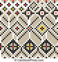 balkan pattern - Freestyle pixel pattern inspired by a...