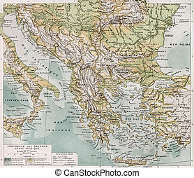 Balkan peninsula - Old Balcan peninsula physical map. By...