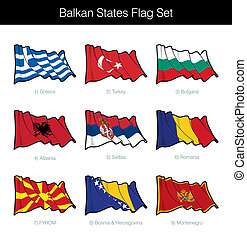 Balkan States Waving Flag Set. The set includes the flags of...