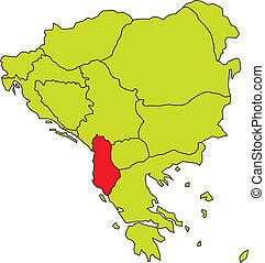 vector map of Balkan peninsula with Albania highlighted in red