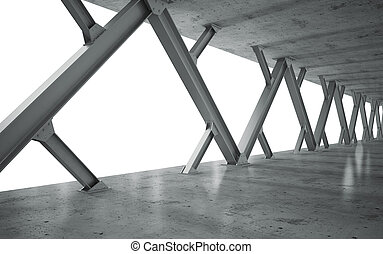 balken, concrete structuur, monochroom