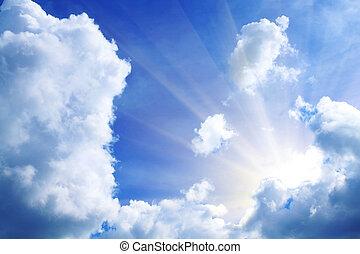balken, door, wolken