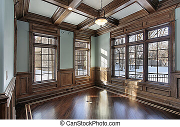balken, plafond, hout, bibliotheek