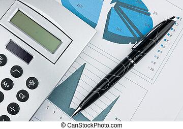 balkendiagramm, mit, kugelschreiber, taschenrechner