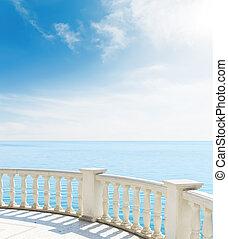 balkon, aanzicht, wolken, zee, onder