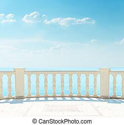 balkon, hemel, zee, bewolkt, onder