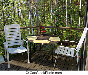 balkon, siedzenia