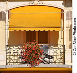 balkon, van, een, luxe, hotel