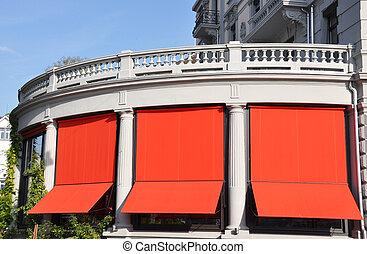 balkon, von, a, luxushotel, in, zürich