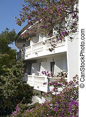 balkons, an, mittelmeer, wohnhaeuser, gebäude
