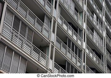 balkons, auf, a, wohnhaeuser, gebäude