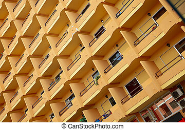 Balkons - Front of a high apartment house