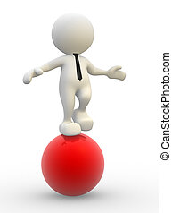 Ball - 3d people - man, person in equilibrium on a ball.