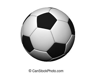 Ball - 3d scene of the soccer ball, on white background