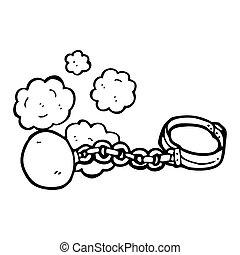 ball and chain cartoon