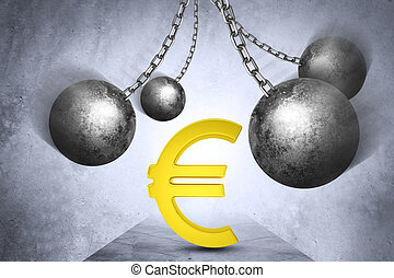 Ball and chain with euro sign
