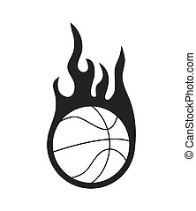 Ball and flame icon. Basketball design. Vector graphic