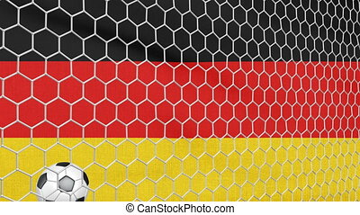 Ball and Germany flag - Ball in the net Soccer gate on the...