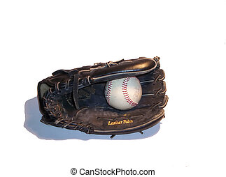 Ball and Glove - Black leather glove and baseball