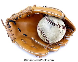 ball and glove - isolated ball and glove